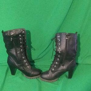 Vero cuoio sz 6.5 black lace up zip heel boots
